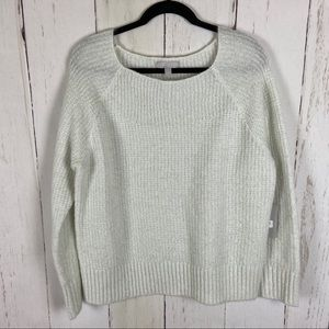 Chelsea28 Ivory Metallic Knit Square Neck Sweater
